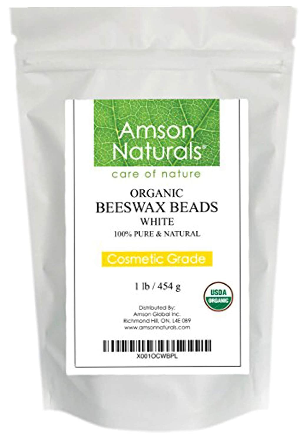 BEESWAX PELLETS WHITE 16oz/1lb -USDA Organic - by Amson Naturals –100% Pure & Natural Premium Quality Beeswax- 3 x Filtered, Natural mild sweet Aroma, Easy Melt Pastilles- for DIY, Candles, Skin Care, Lip Balm, Lotion, Deodorant, Furniture Polish, Cray
