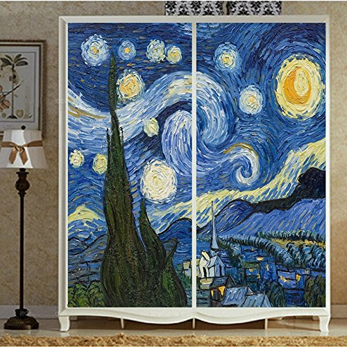 (Set of 2 Panels) OstepDecor Custom Starry Night Translucent Non-Adhesive Frosted Stained Glass Window Films 12