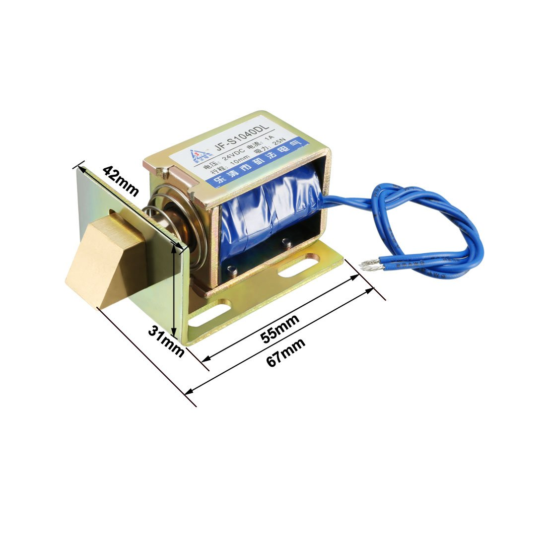 uxcell JF-1578B DC 24V 5A 5KG 20mm Pull Push Type Open Frame Linear Motion Solenoid Electromagnet a18051900ux0038