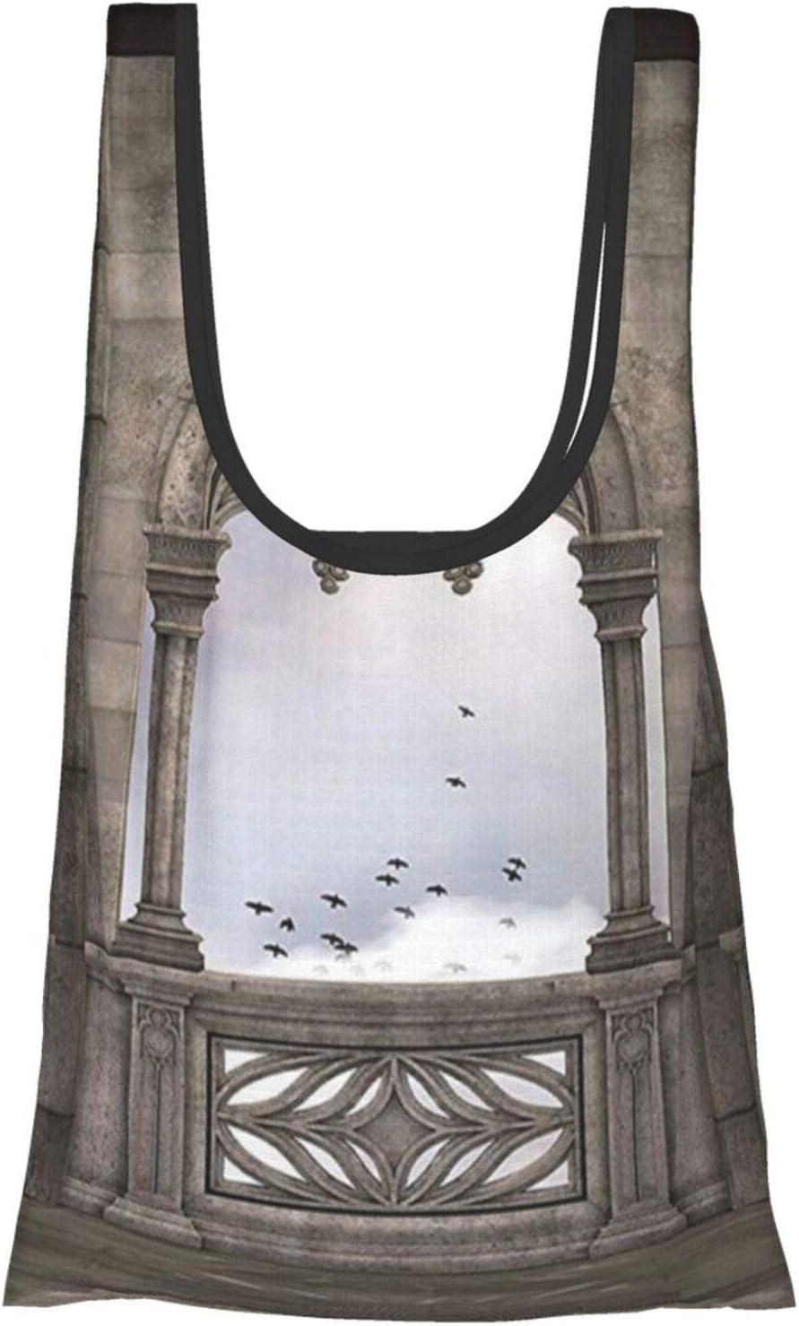 Hdaw Decor Collection - Balcón de piedra medieval con curvas, diseño gráfico místico de la Edad Media con impresión de leyendas reutilizables y plegables
