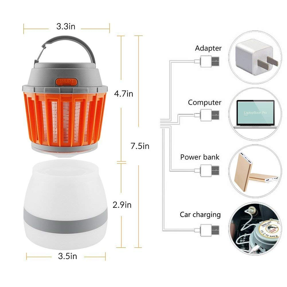 USB Rechargeable LED Lantern and Flashlight Lightweight Camping Gear and Accessories Perfect for The Outdoors and Emergencies Shibel-US Camping Lantern and Bug Zapper 2 in 1