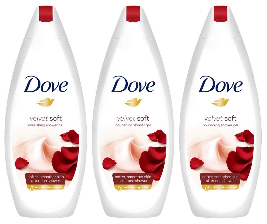 Dove Velvet Soft Moisturizing Body Wash, 16.9 Ounce / 500 Ml (Pack of 3) International Version