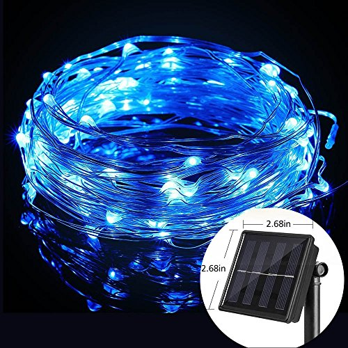 Solar String Lights, Ourtdoor Waterproof Starry Fairy Lights, 66 feet 8 Mode 200 LED 8 Modes Copper Wire Ambient Decorative Rope Lights for Garden Christmas Tree Patio Lawn Party home (Navy Blue) Ceiling Fixture Dark Spice