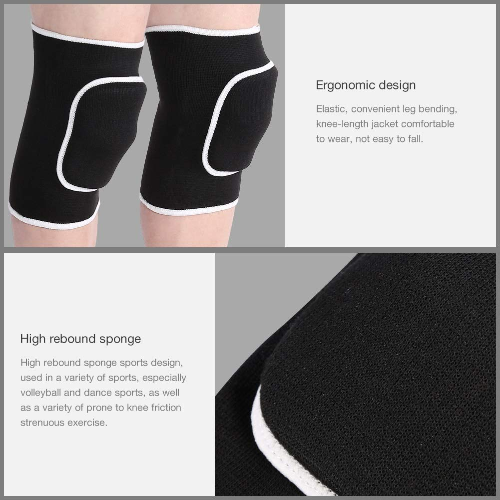 2pcs Sports Patella Support Belt Volleyball Soccer Basketball Knee Pad Fitness Knee Protector Sports Sponge Knee Pad Dance Sponge Knee Pad Color : Black one Pair