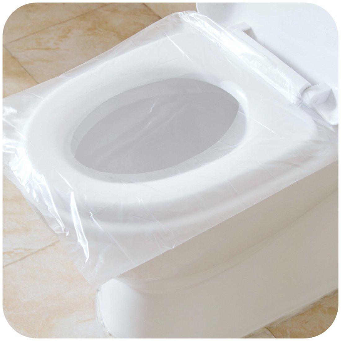 BlueSnail Lot de 50 couvre-siè ges pour abattant WC, antibacté rien, é tanche, jetable, portable de voyage, housse WC pour femme enceinte, emballage individuel