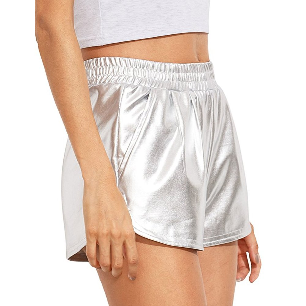 RoxZoom Women's Casual Shorts, Soft Stretchy High Waisted Solid Color Pockets Shorts, Silver, Large