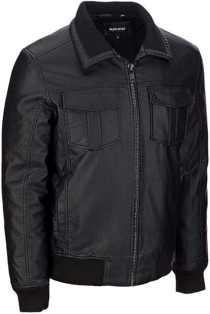 Detachable Hood RedSeam Mens Genuine Lambskin Leather Motorcycle Slim Fit Biker Bomber Jacket RM094