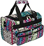 13″ Boho Print Carry On Travel Duffle Bag w/Black Trim