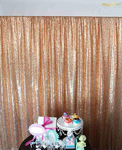 Sequin Curtains 2 Panels 2FTx8FT Rose Gold Glitter Backdrop Rose Gold Sequin Photo Backdrop Backdrop Curtains~M1120