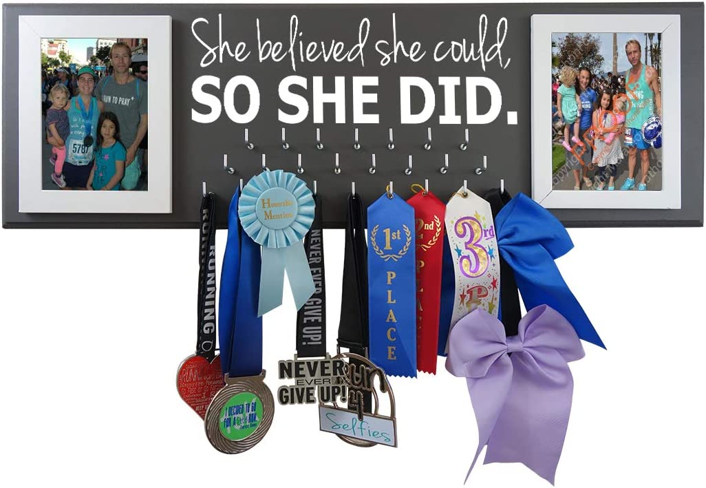 Wall Mounted Medal Holder and Hanger for Marathons, Track, Cross Country, 5K & 10K Runners - She Believed She Could So She Did!