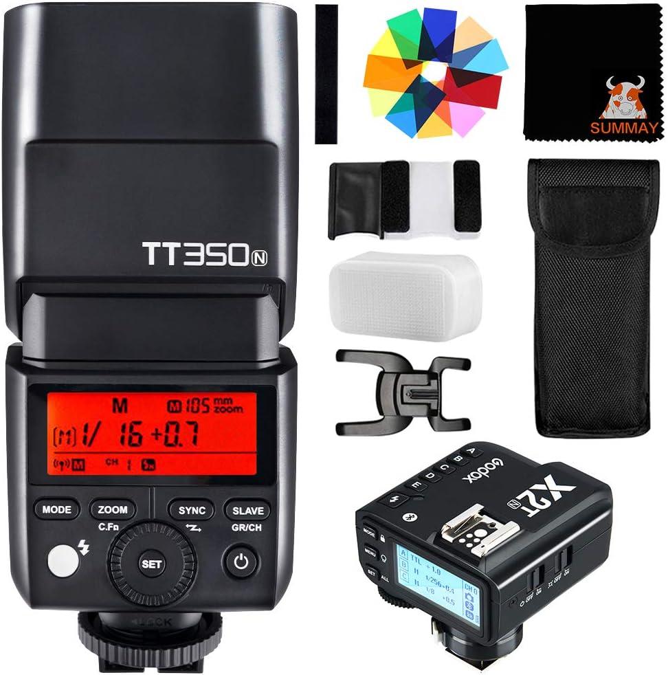 GODOX TT350N TTL Mini Flash with X2T-N Trigger 2.4G 1//8000s High-Speed Sync GN36 Speedlite for Nikon Cameras D800 D700 D7100 D7000 D5200 D5100 D5000 D300 D300S D3200 D3100 D3000 D200 D70S D810 D610