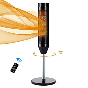 COSTWAY Ceramic Heater, 1000W/1500W Portable Space Heater, 34-Inch Pedestal Heater with 8H Timer, Adjustable Thermostat, Overheat & Tip-Over Protection, Remote Control for Bedroom, Home& Office, Black