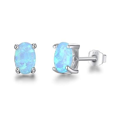 e45ac871551e Beydodo Pendientes Mujer Pendiente Mujer Plata de Ley Mujer Pendientes Gota  Oval Opal Pendientes Plata Azul  Amazon.es  Joyería