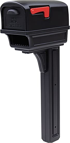 GIBRALTAR Plastic Mailbox Post Combo Large Capacity Black Residential Mail Box