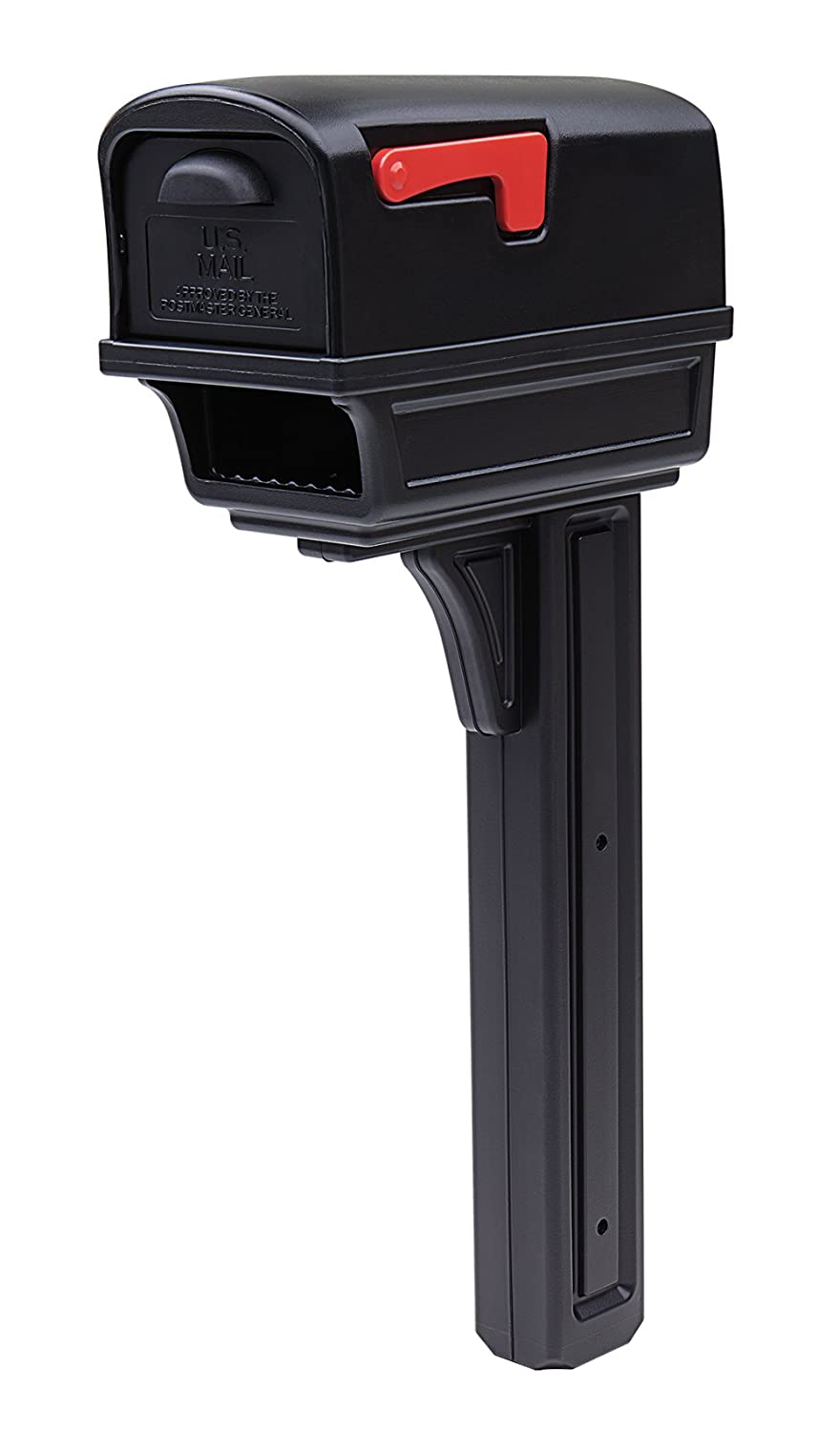 Gibraltar Mailboxes GentryLarge Capacity Double-Walled Plastic Black, All-In-One Mailbox & Post Combo Kit, GGC1B0000