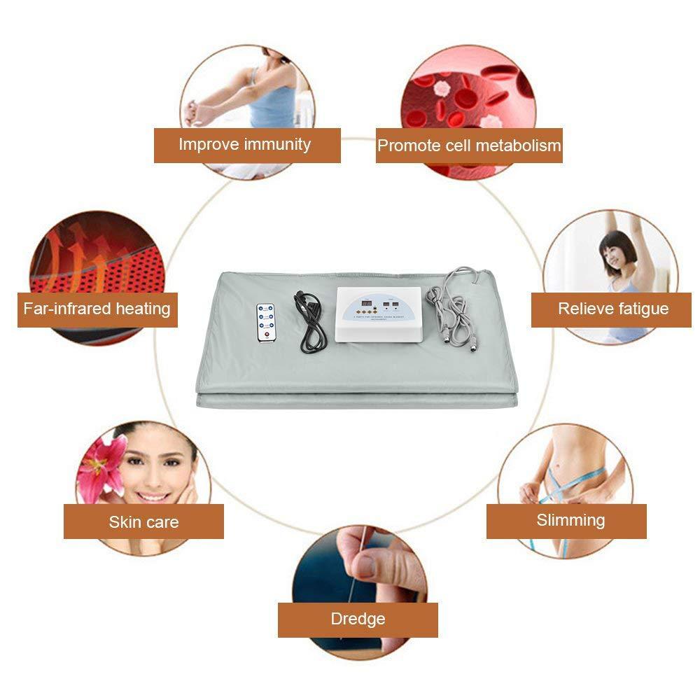 InLoveArts violett Far Infrared Sauna Decke Body Shaper Gewichtsverlust Sauna Abnehmen Decke Detox-Therapieger/ät f/ür Personal Spa 2 Zone mit Fernbedienung, Batterie nicht im Lieferumfang enthalten