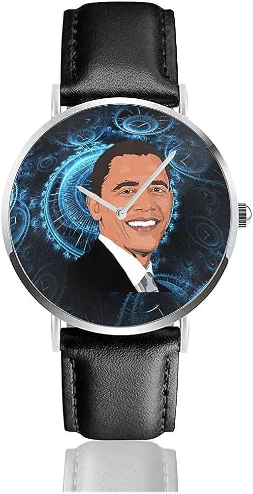 Bar-ACK OB-ama President Estados Unidos United Leather Strap Watch Casual Reloj de Pulsera de Cuarzo de Acero Inoxidable