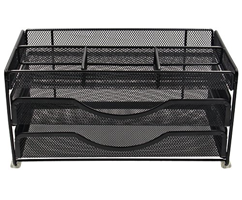 EasyPAG Mesh Desk Supplies Organizer Caddy with 2 (2 Drawer Office Hutch)