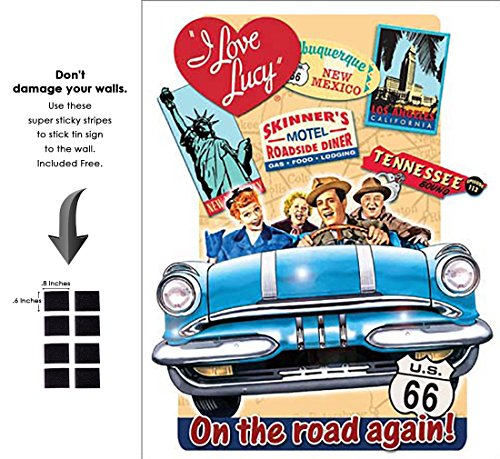 - Shop72 - Hollywood Movie Tin Sign Funny I Love Lucy on The Road Tinsign -