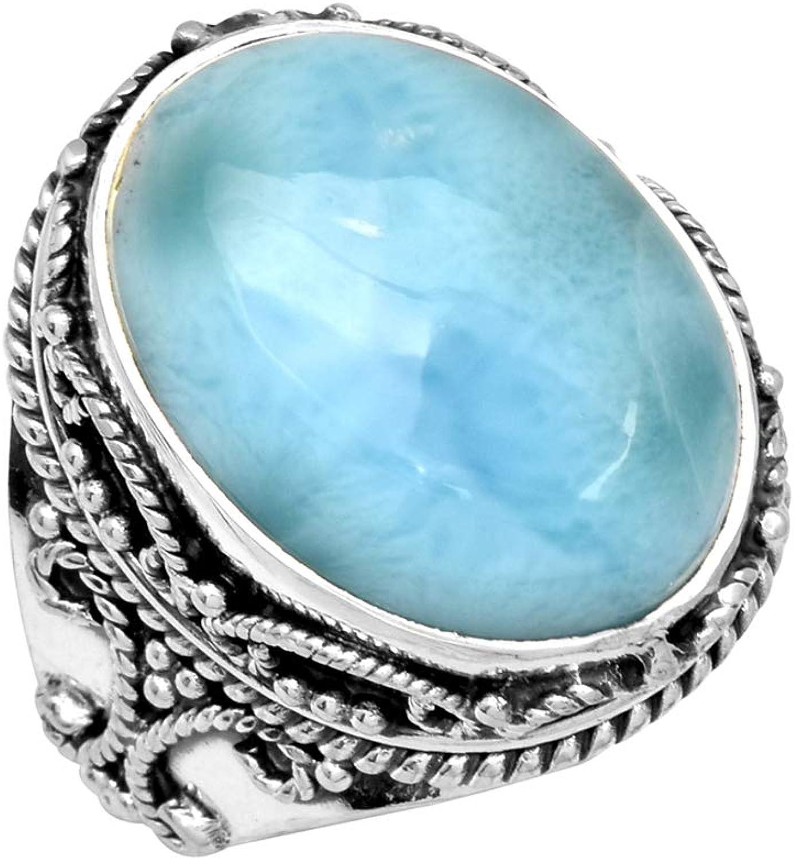 YoTreasure Larimar Solid 925 Sterling Silver Gemstone Ring