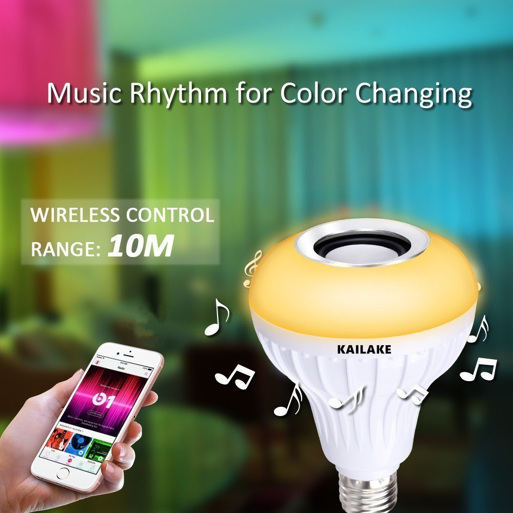 KAILAKE LED Wireless Light Bulb Speaker-RGB Sm Music 2018 New Design Instagram 5000+Likes with Stereo Audio Smart 7W E27 Changing Lam Lamp+24 Keys Remote Control by KAILAKE (Image #3)