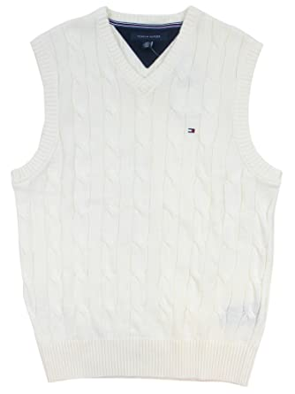 Tommy Hilfiger Mens Cable Knit Logo Sweater Vest - XL - Cream at ...