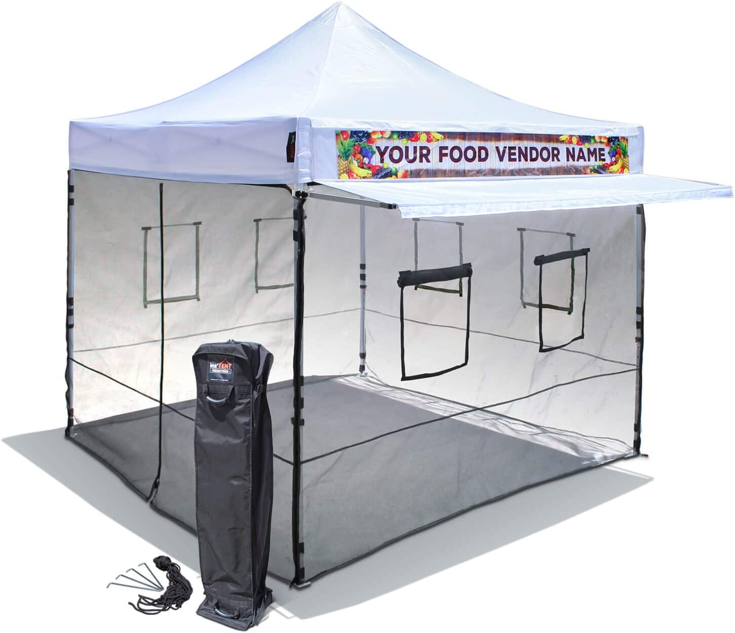 10'x10' Food Vendor Canopy Tent with Mesh Wall Set & Awning