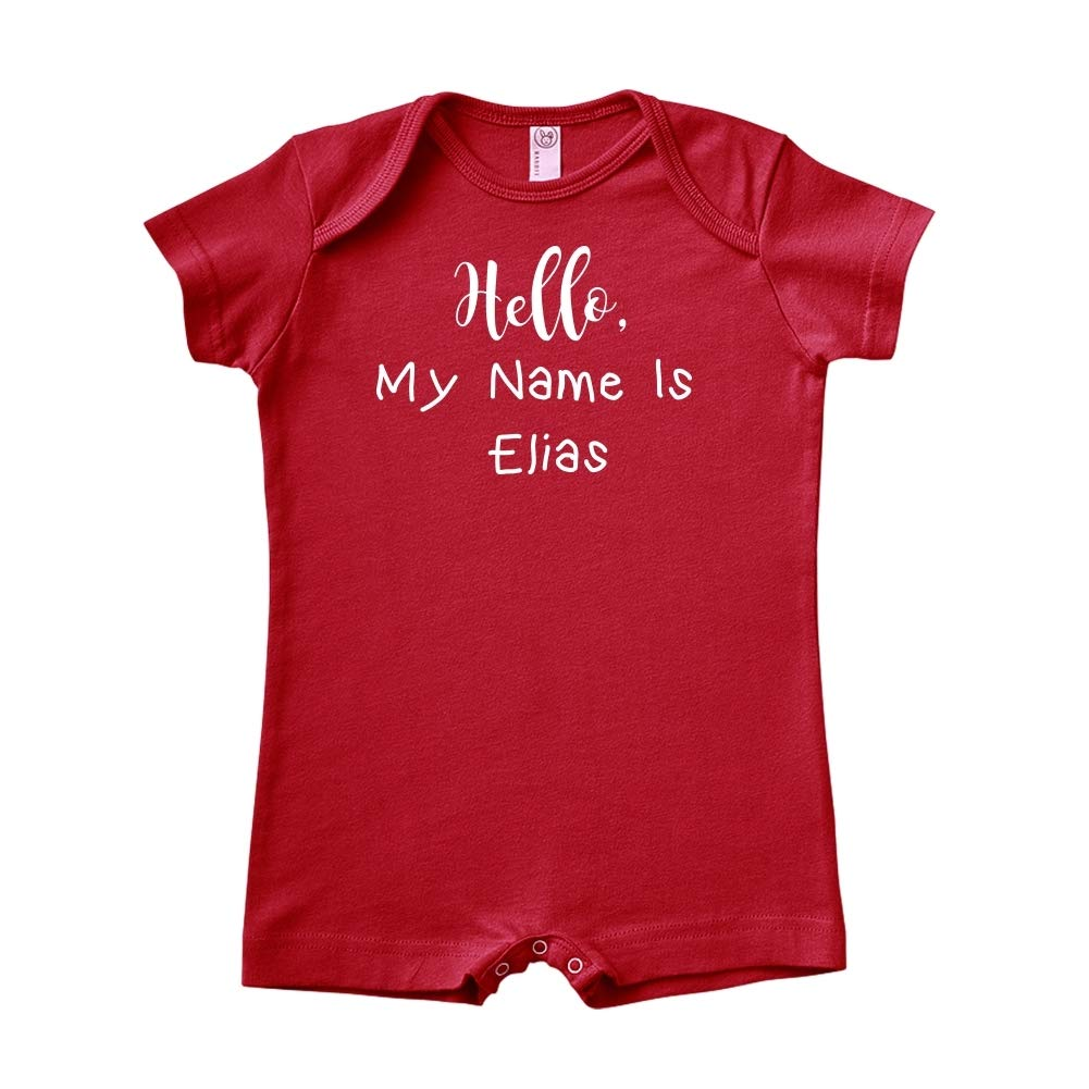 Mashed Clothing Hello My Name is Elias Personalized Name Baby Romper
