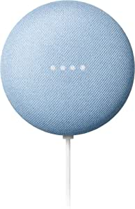 Google Nest Mini Sky - Dual Front-Firing Speakers - Built in Chromecast - 360-degree Sound - Voice Match Technology - Bluetooth?
