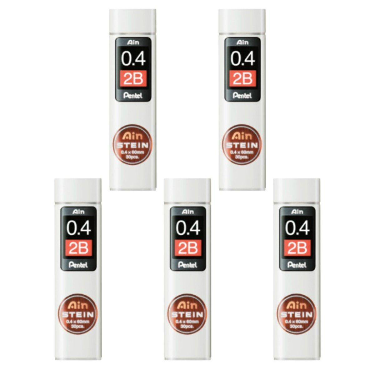 Pentel Ain Mechanical Pencil Leads 0.4mm 2B, 5 Pack/total 150 Leads Value Set