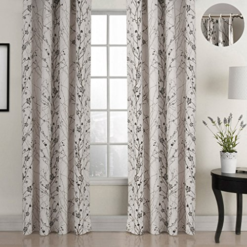 (ChadMade Country Style Plum Blossom Polyester 50Wx63L Inch (1 Panel) Blackout Lined Curtain Drape Pinch Pleat SOFITEL Collection For Bedroom | Living Room | Club | Restaurant)
