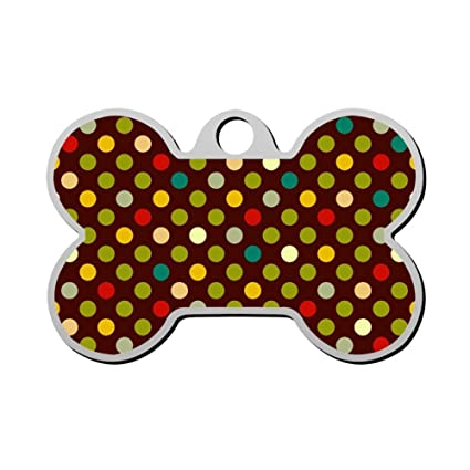 936528a56df3 Image Unavailable. Image not available for. Color: GPZHM Customized  Colorful Dots Pet Tag - Bone Shaped Dog Tag & Cat Tags Pet ID