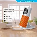 Clever dog Cámaras de seguridad inalámbricas wifi / Smart Baby Monitor / cámara de seguridad de vigilancia con P2P, visión nocturna, vídeo de grabación, audio bidireccional, detección de movimiento, mensajes de alerta para Iphone Ipad Smartphone Android (naranja)