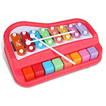 Eruditter Juguete Musical Bebé Juguete Xilófono Instrumentos Musicales para bebés Teclado de Piano y Martillo para niños, niños y niñas Juguetes a Partir de ...
