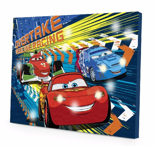 Disney Cars Art (Disney Cars 3 LED Canvas Wall Art, 15.75-Inch x 11.5-Inch)