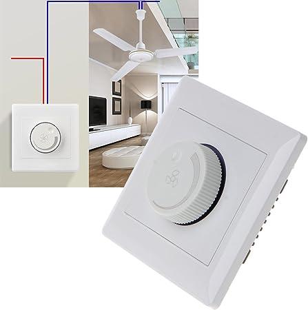 BIlinli 220V 200W Ajuste Interruptor de Control de Velocidad del Ventilador de Techo Botón de Pared Regulador del Interruptor: Amazon.es: Hogar
