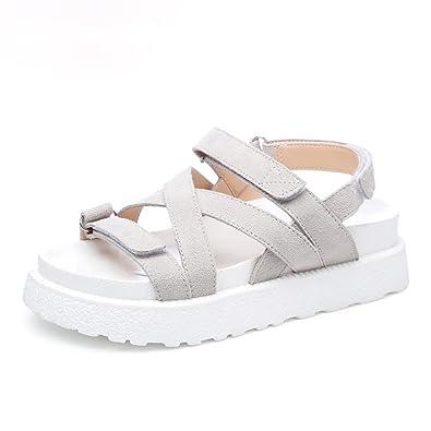 WXMDDN Sommer Sandalen Frauen Strandschuhe Dicken Boden Casual mit Romaniping Bottom Shoes Reis Weiß 38