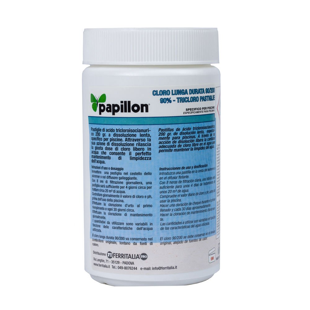 Cloro Lento Mantenimiento 90% Pastillas 200 gramos (1 Kg) PAPILLON