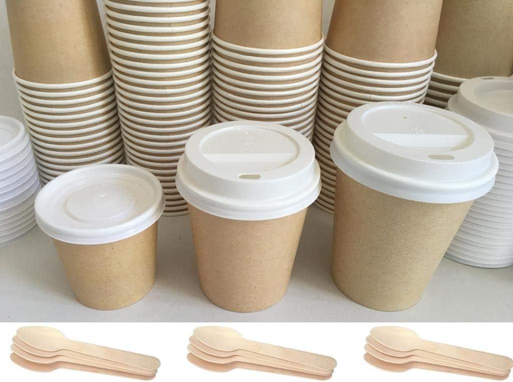 100 Cucchiaini in Legno bio 100/% NICOLETTI Kit 300 Pezzi : 100 Bicchieri di Carta per Caffe da asporto 100 coperchi Hot Cup Cappuccino//Americano 170ml