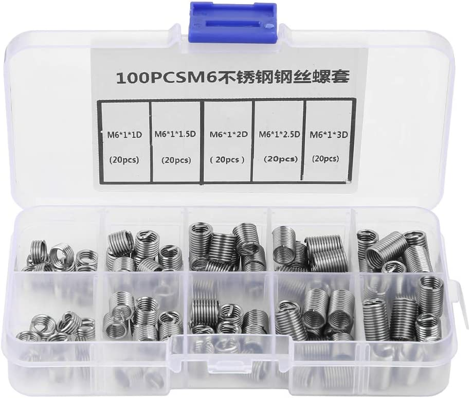 Yunnyp 100pcs M6 Stainless Steel Wire Screw Sleeve,100pcs M6 Stainless Steel Coiled Wire Helical Screw Thread Inserts Set