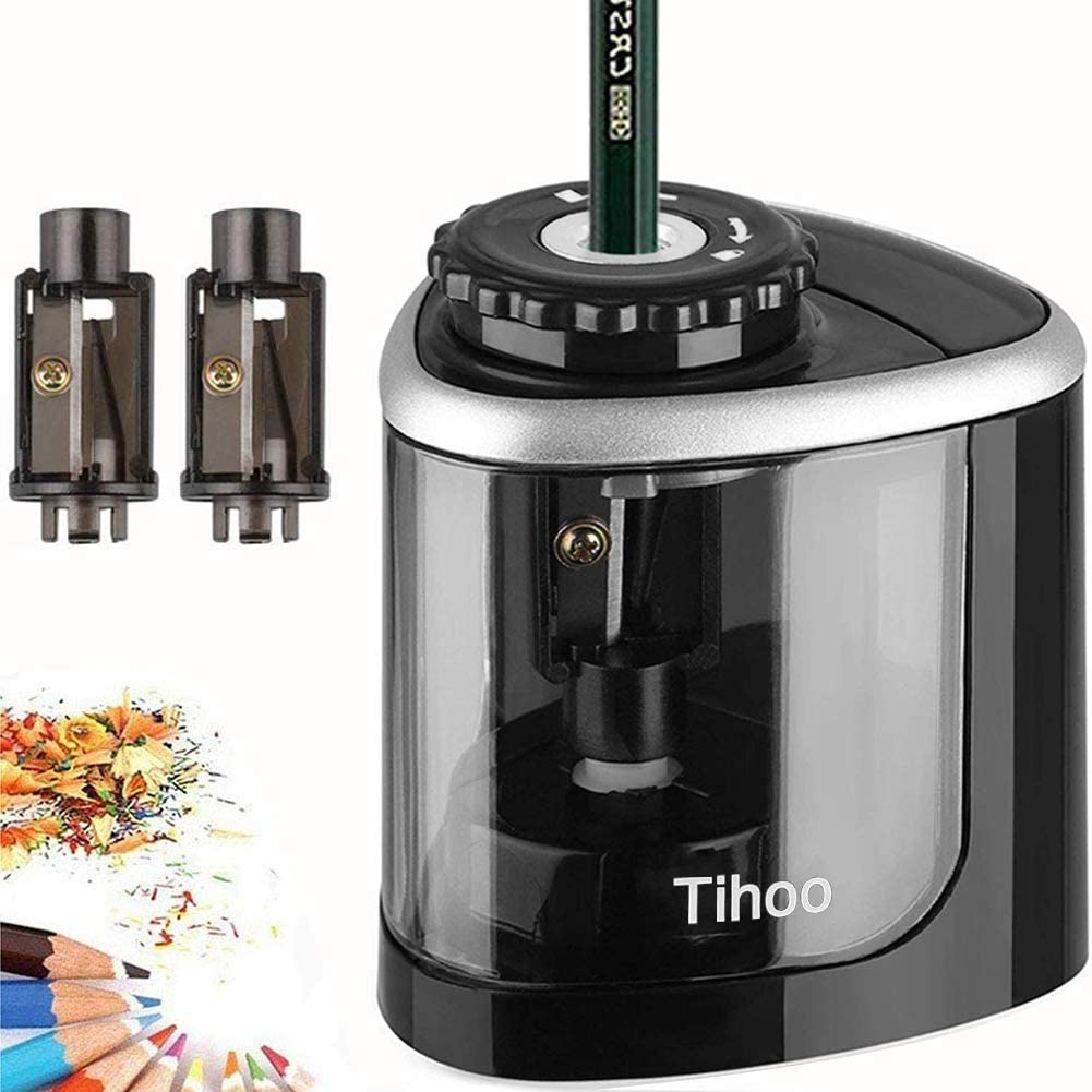 Tihoo Electric Pencil Sharpener, Manual and Electric Sharpening with 3 Replaceable Blades, Battery Powered, Anti-Slip, Safe Automatic Stop, Suitable for School/Classroom/Office/Home - Black