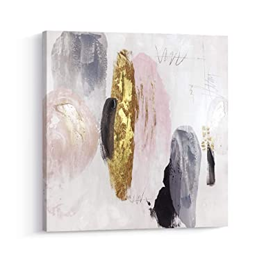 Pi Art Framed Contemporary Abstract Shinning Gold and Pink Trendy Canvas Print Wall Art with Gold Foil Wall Decor Picture for Living Room and Bedroom (24x24, B)