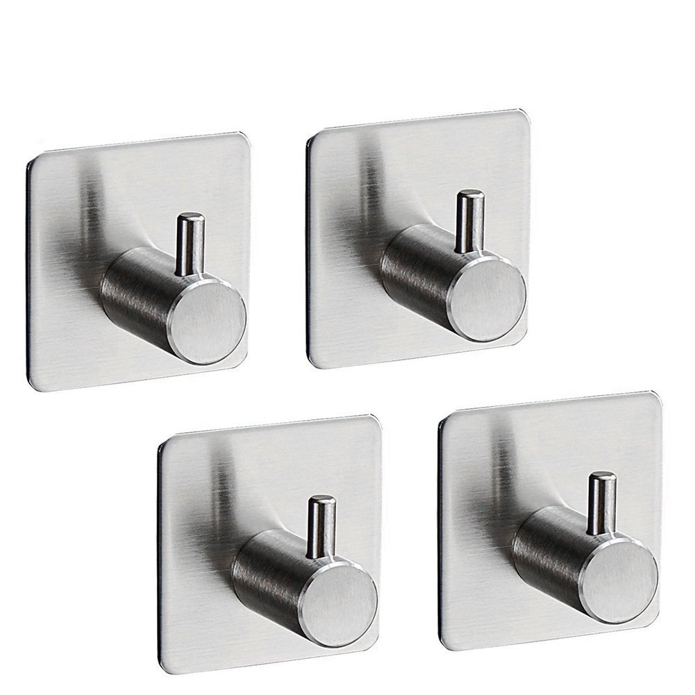 Beileer Self Adhesive Hooks - Stainless Steel Towel Hook Heavy Duty 4 Pieces Waterproof and Oilproof for Bathroom Clothes Garden Tools (4 pcs Silver Round)