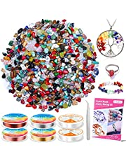 Crystals Stone Beads for Jewelry Making - Cludoo 707Pcs Natural Chip Stone Beads Multicolor with 6 Rolls Jewelry Wires and 1 Craft tweezer for Bracelet Necklace Earrings Jewelry Making Supplies