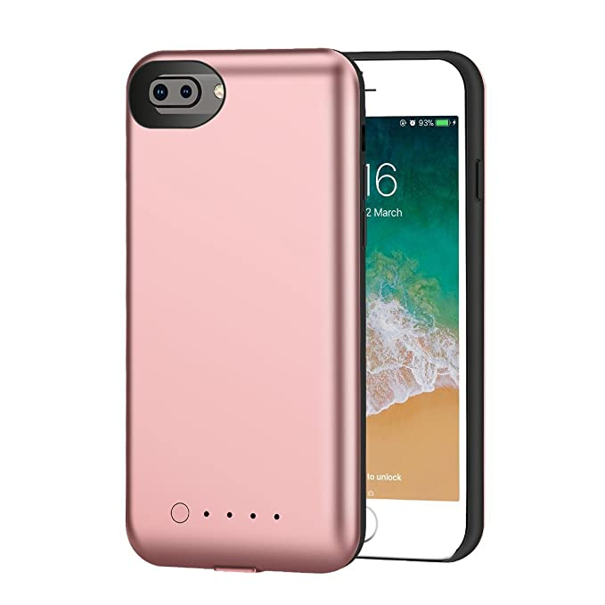 buy popular 454b8 9aba8 Amazon.com: iPhone 8 Plus Battery Case -i.Valux 5200mAh Wireless ...