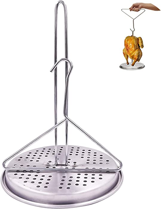 BOHK Perforated Aluminum Turkey Chicken Poultry Deep Frying Rack with Chrome Finish Wire Handle Lifter Hook Vertical Roaster Holder Base for Deep Fry Pot Grill BBQ