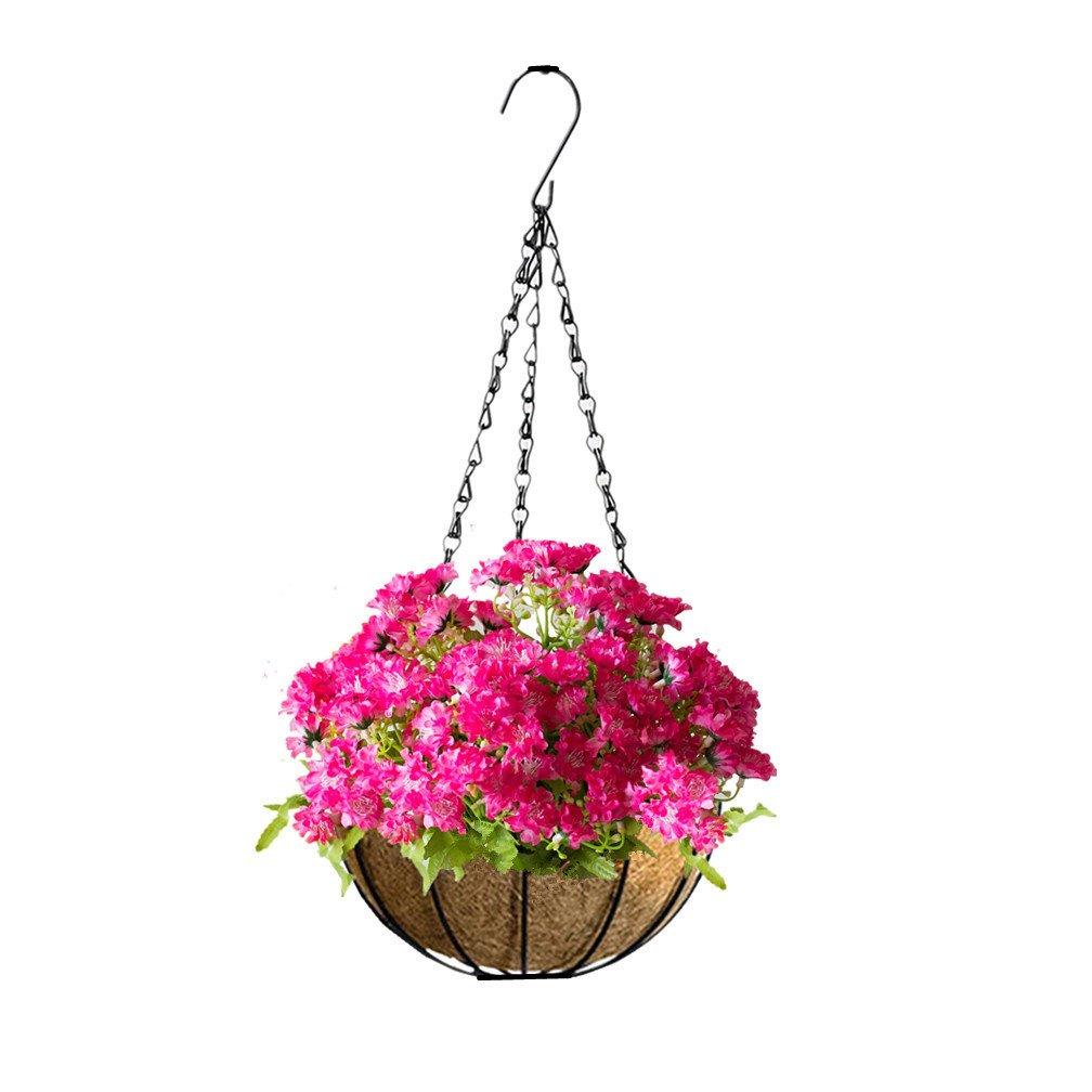 mynse人工フラワーシルク菊Hanging Basketホームガーデン屋内屋外装飾Hanging Flowerpot with人工花バタフライデイジーローズレッド Big Basket B07FNLV5FK  Big Basket