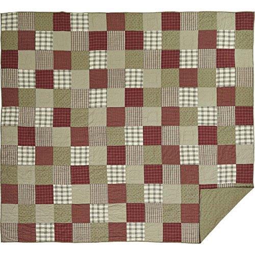 VHC Brands Brick Red Farmhouse Classic Country Bedding Prairie Winds Quilt, Luxury King