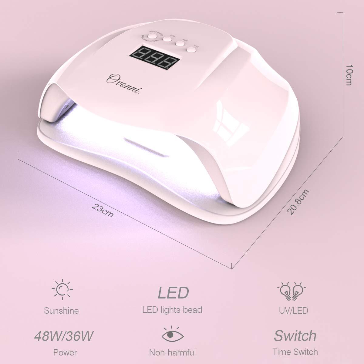 Lámpara Led Uñas, Secador de Uñas 54W/48W, 10 Limas y Diamante de Decoración Gratis, 4 Tipos Temporizadores con Modo de SIN Dolor, 36 luces LED/UV, ...