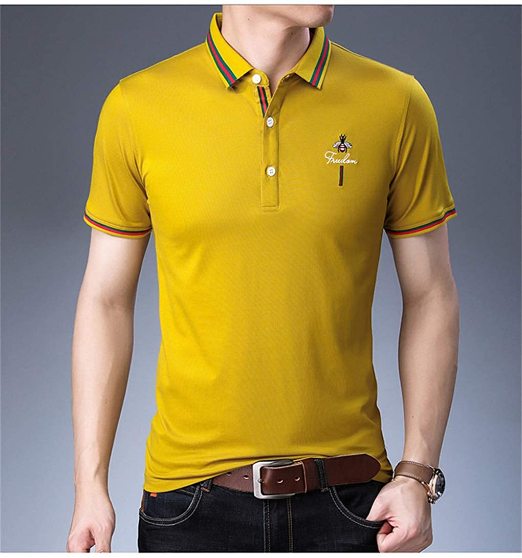 HYAO Summer Mens Short Sleeve Polo Shirts Lapel Thin Solid Color Youth Polo Shirt